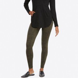 SPANX Olive Crosshatch Look at Me Now Leggings L